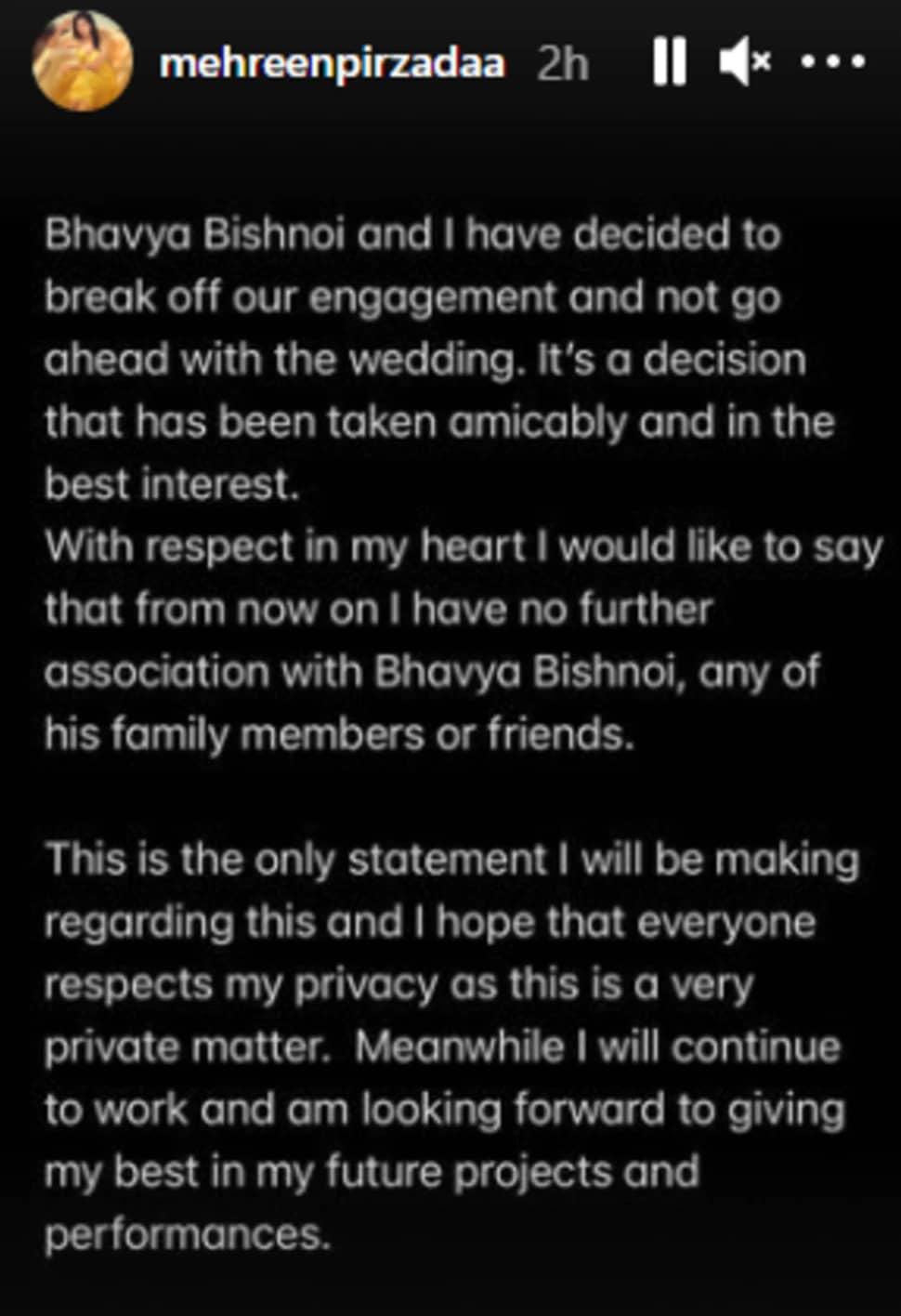 mehreen pirzada statement bhavya bishni